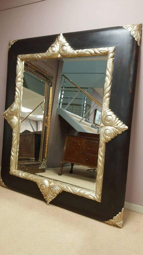 HUGE designer solid wood and gold mirror, large statement high quality item