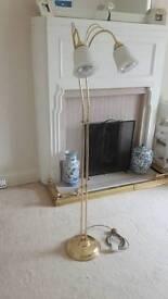 Brass Effect Twin Bulb Lounge Lamp