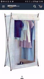 Canvas/Fabric X-Frame Cream Wardrobe