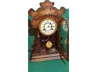 Vintage antique Waterbury Gingerbread shelf clock
