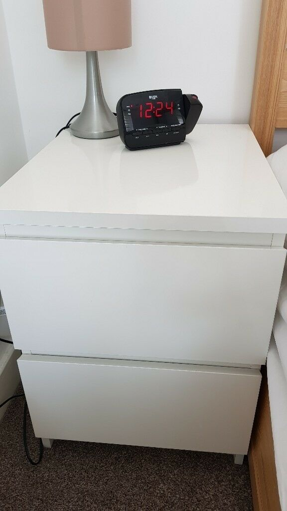 Chest 2 Drawers Ikea Malm White High Gloss Bedroom Furniture