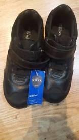 Black leather boys school shoes m&s size 13
