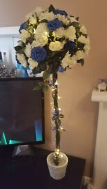 2 x Rose Trees (Artificial) Royal Blue Wedding Topiary