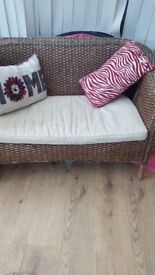 Conservatory seat Mn S with cream cushion seat pad. Good condition
