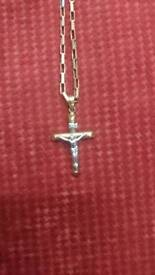 9ct gold chain and cross