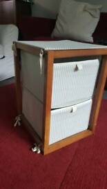 Lovely IKEA storage unit wooden frame with fabric drawers.