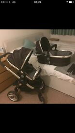 iCandy complete travel system including car seat and isofix base