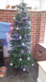 """6'5"""" Xmas tree in VGC with baubles as shown."""