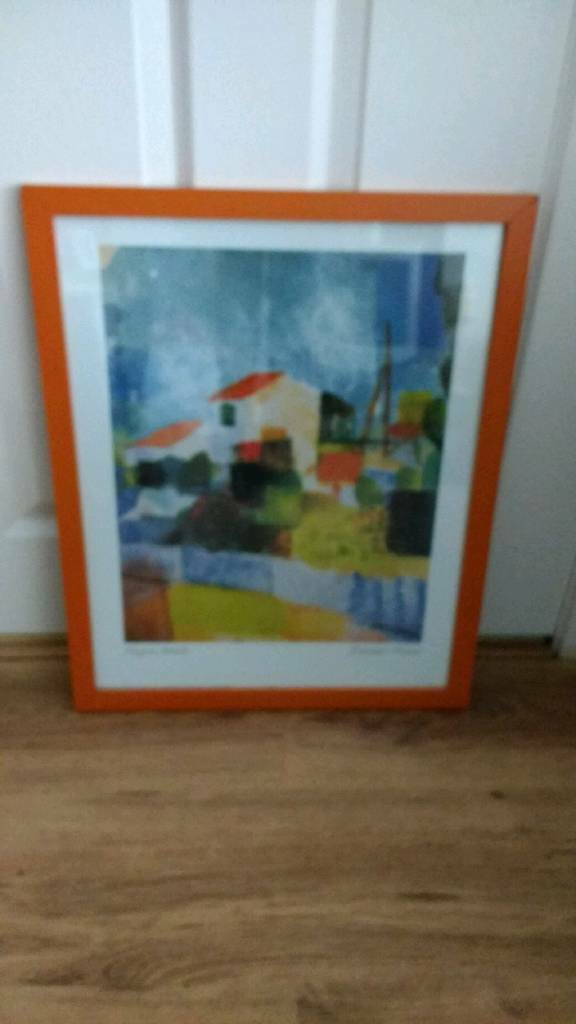 Abstract colouful picture with orange frame