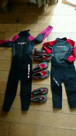 2 kids wetsuits plus 3 beach shoes RED NOW SOLD
