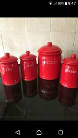 RED POT CANISTERS AND BUTTER DISH