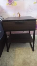 Dark Brown & Black Bedside table with single drawer and shelve.