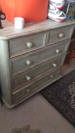 Rustic painted chest of drawers in farrow and ball paint