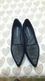 Bnwt Marks and Spencer blue velvet shoes size 6