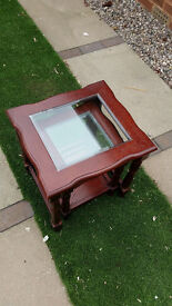 Glass Topped Nesting Tables (Wooden Dark Brown) (Nest Of Tables)