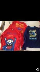Boy's long sleeve T-shirt tops x3 clothing accessories bundle 3-4 yrs