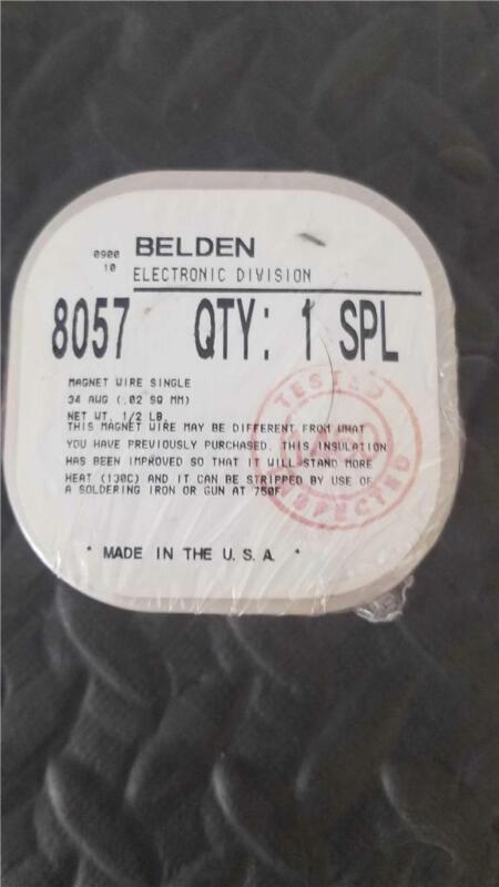 New Spool BELDEN 8057 Magnet Wire; 34 AWG ; Copper; Polyurethane/Nylon