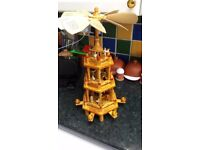 Traditional German Christmas Pyramid 3 Tier Rotating Candle Holders