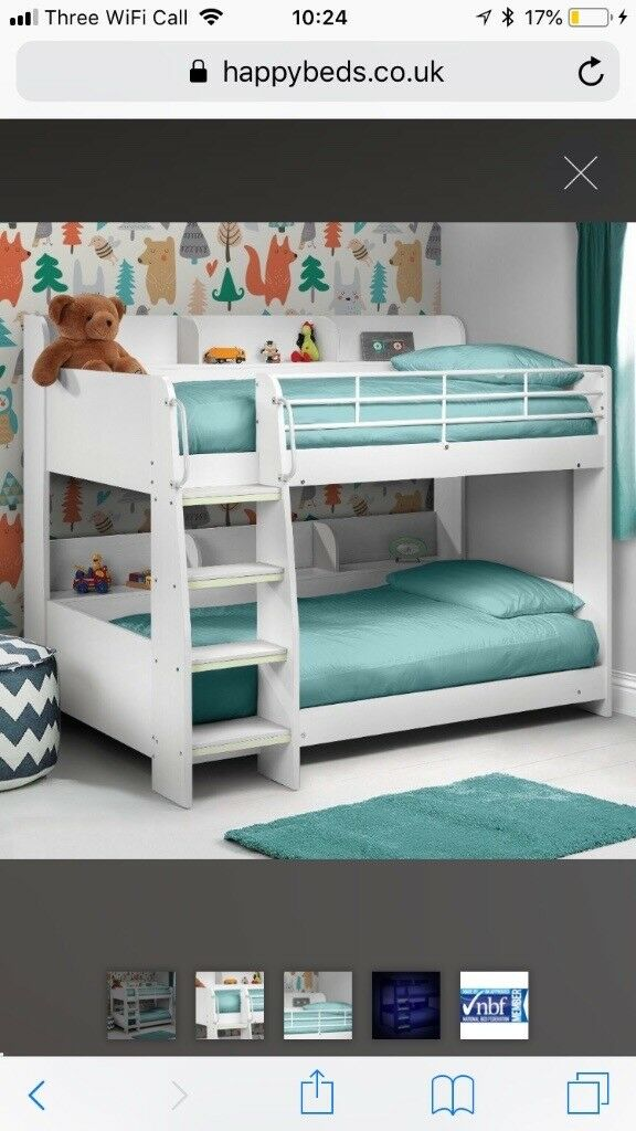 Domino White Wooden And Metal Kids Storage Bunk Bed Frame 3ft