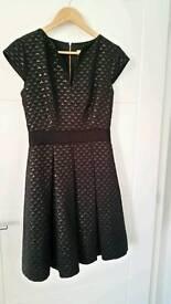 Ted Baker Jacquard Black Dress Size 1 (6-8 UK)
