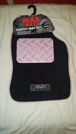 max mats carpet mat set of 4 pink and black brand new