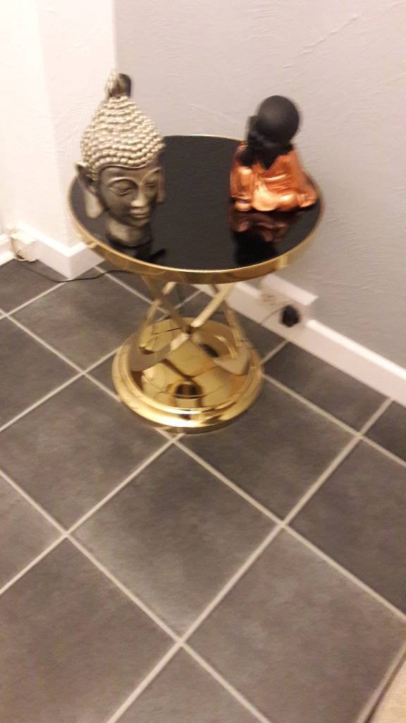 Brand new side table/small coffee table black glass gold colour metal