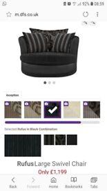 DFS fabric cuddle chair