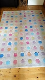 RUG IVORY GROUND WITH COLOURED SPOTS 171CM WIDE 239CM LENGTH