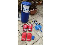 Punch bag with gloves and wrap