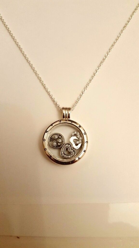 Pandora floating locket family petite charms necklace £70