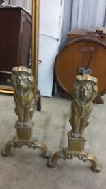 """Fire Dogs for sale - Lions - 17"""" tall."""
