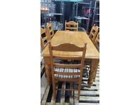 SOLID WOOD DINING TABLE & 6 CHAIRS
