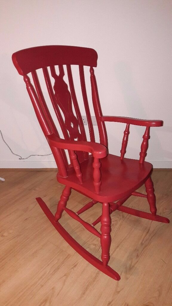 Painted Red Wooden Rocking Chair