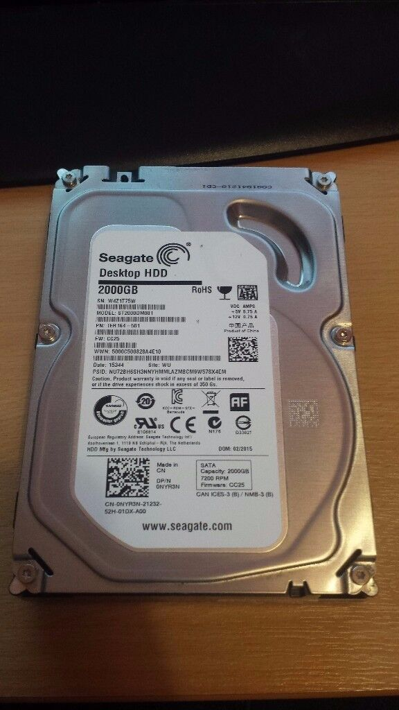"""Seagate Barracuda 2TB SATA3 6Gb/s 3.5"""" ST2000DM001 internal Hard Disk Drive 7200 RPM 64MB"""