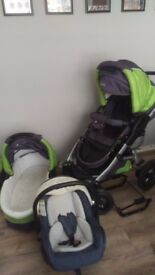 3 in 1 travel system (pram, pushchair and car seat with adapter)