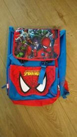 Kids Spiderman Large Rucksack with extendable sides Fab condition £10 Collection Only