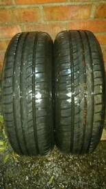 2 X 175 65 R14 PEUGEOT 206 WHEELS,TYRES PIRELLI 8 MM TREAD DEPTH-1 YEAR OLD-EXCELLENT CONDITION