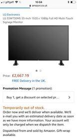 LG Professional monitor model 55wt30ms retail price 2667
