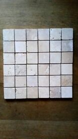 Tumbled Classic Light Travertine Mosaic Tiles 48x48x10 mm