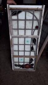 Stain Glass Leaded Window x 2 with bulls eyes