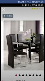 Black and chrome glass dining table 6 chairs