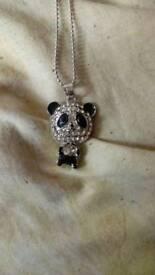 Glittery panda necklace