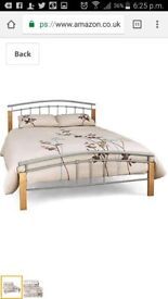5Ft King size Wooden beech and Silver Metal Bed Frame
