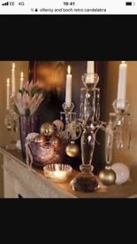 Vilroy and Boch crystal candelabra 3 arm