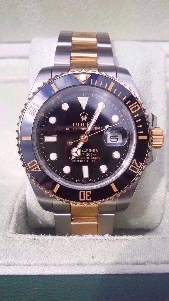 rolex submariner black face two tone 2017 updated 2.5x date,glide lock, sapphire glass, 150g weight