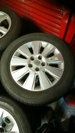 Vauxhall Vectra 16inch alloy wheels,four good tyres, 5x110 (zafira, astra, corsa, omega,)