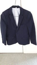 Boys M&S Linen Jacket; age 9/10; Navy blue