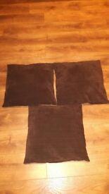 Next Cushions x 3, dark brown, chenile/velour