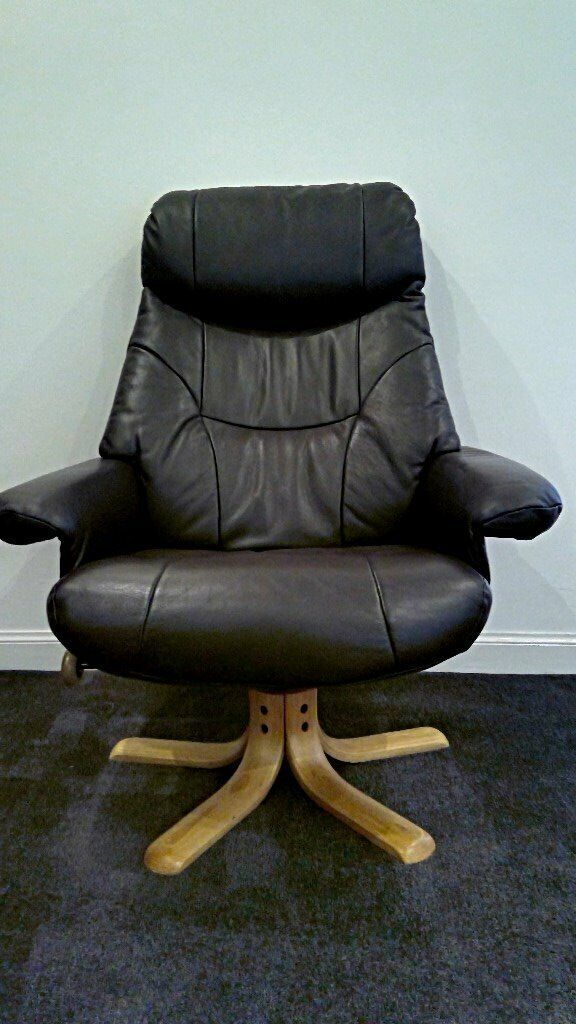 Sensational Reclining Padded Brown Leather High Backed Swivel Arm Chair With Matching Stool In Longniddry East Lothian Gumtree Alphanode Cool Chair Designs And Ideas Alphanodeonline