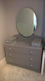 Grey Painted Dressing Table / Chest of Drawers with Ceramic Knobs